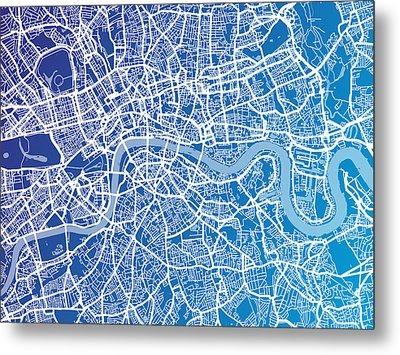 London England Street Map Metal Print by Michael Tompsett