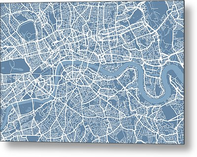 London Map Art Steel Blue Metal Print by Michael Tompsett