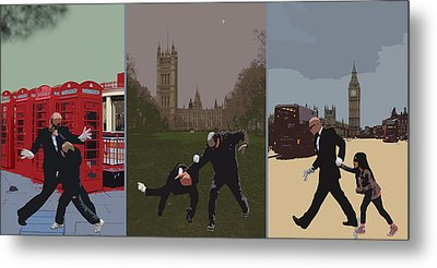 London Matrix Triptych Metal Print by Jasna Buncic