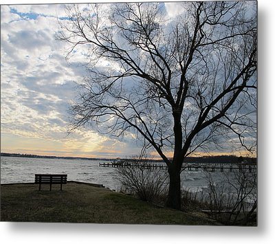 Lonely Bench At Dusk Metal Print by Valia Bradshaw