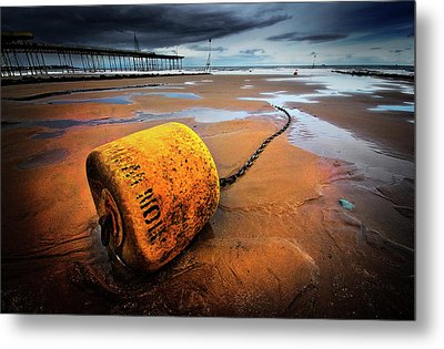 Lonely Yellow Buoy Metal Print by Meirion Matthias