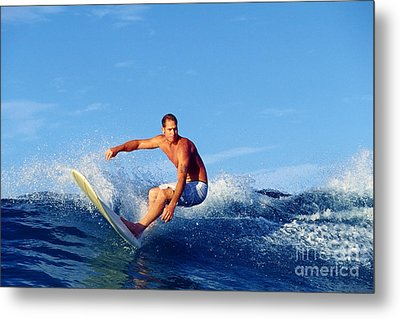 Longboard Surfer Metal Print by Paul Topp