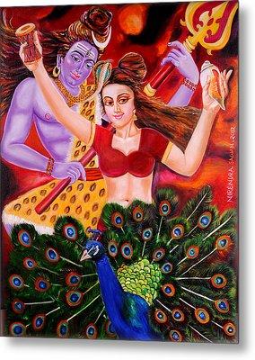 Lord Shiva-parvati Dancing Metal Print by Nirendra Sawan