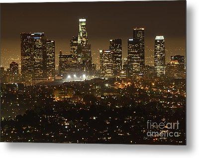 Los Angeles Skyline At Night Metal Print by Bob Christopher