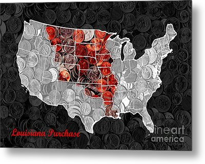 Louisiana Purchase Coin Map . V1 Metal Print by Wingsdomain Art and Photography