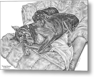 Lounge Lizards - Doberman Pinscher Dog Art Print Metal Print by Kelli Swan