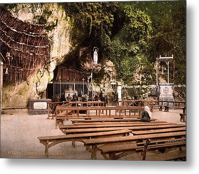 Lourdes, France, The Grotto Of Notre Metal Print by Everett