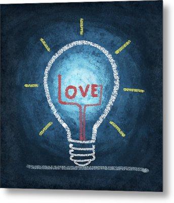 Love Word In Light Bulb Metal Print by Setsiri Silapasuwanchai
