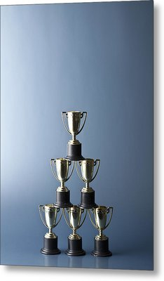 Loving Cup Trophies Stacked In A Pyramid Metal Print by Larry Washburn