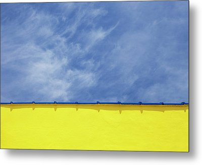 Low Angle Close Up View Of A Wall And Sky Metal Print by Sean Russell