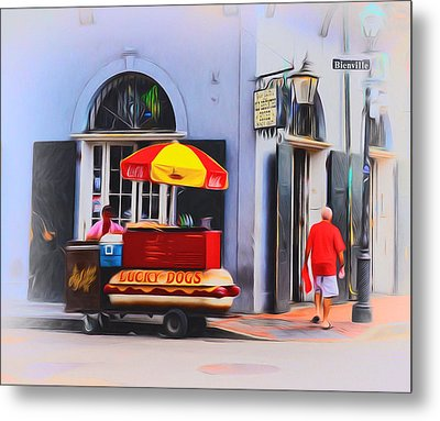 Lucky Dogs - Bourbon Street Metal Print by Bill Cannon