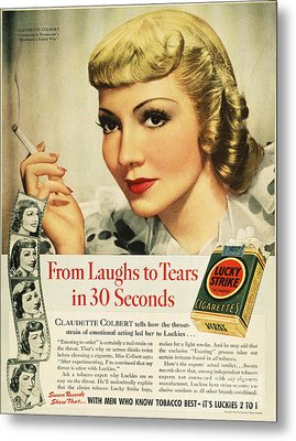 Luckys Cigarette Ad, 1938 Metal Print by Granger