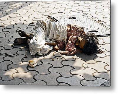 Lunch On Bombay Streets Metal Print by Kantilal Patel