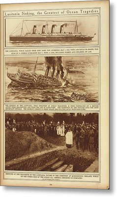 Lusitania Sinking The Greatest Of Ocean Metal Print by Everett