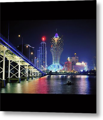 Macau City At Night Metal Print by Thank you for choosing my work.