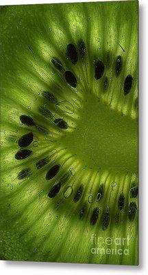 Macro Kiwi Slice Metal Print by Janeen Wassink Searles