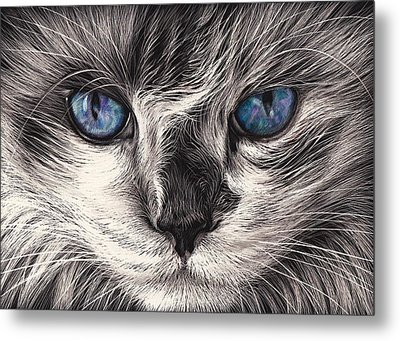 Mad Cat Metal Print by Elena Kolotusha