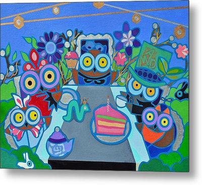 Mad Owls Tea Metal Print by Jenny Valdez