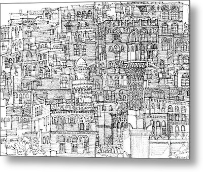 Magical Architecture Of Yemen In Ink  Metal Print by Adendorff Design