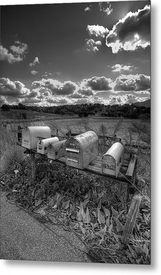 Mailboxes - Black  And White Metal Print by Peter Tellone