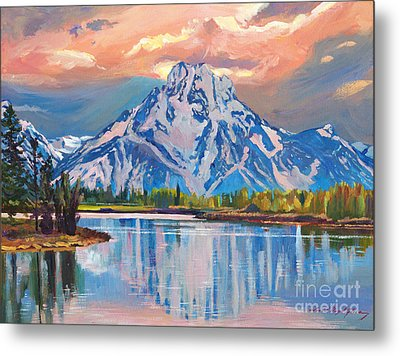 Majestic Blue Mountain Reflections Metal Print by David Lloyd Glover