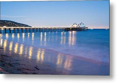 Malibu Pier Reflections Metal Print by Adam Pender