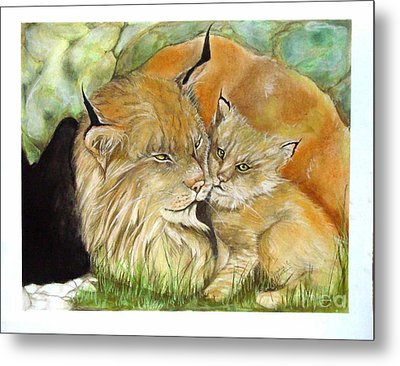 Mama And Baby Lynx Metal Print by Sandra Valentini