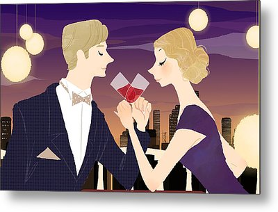 Man And Woman Toasting With Glasses Of Red Wine At Dining Table Metal Print by Eastnine Inc.