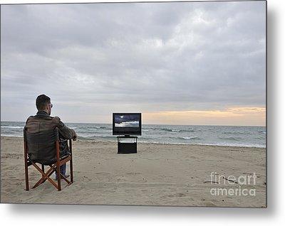 Man Watching Tv On Beach At Sunset Metal Print by Sami Sarkis
