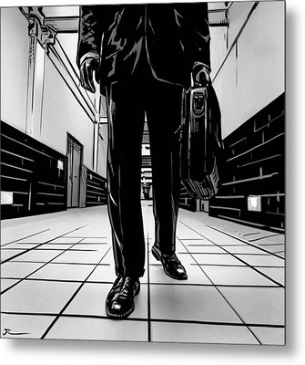 Man With Briefcase Metal Print by Giuseppe Cristiano