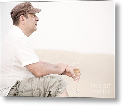 Man With Glass Of Champagner In The Dunes Metal Print by Iryna Shpulak