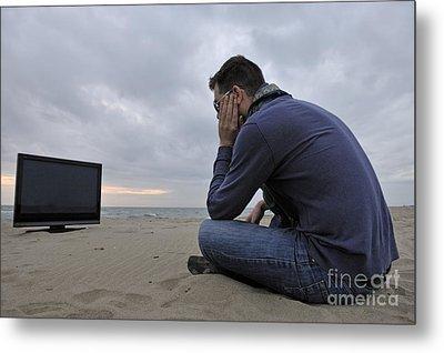 Man With Tv On Beach At Sunset Metal Print by Sami Sarkis