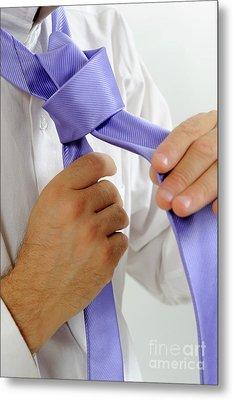 Man's Hands Adjusting Tie Metal Print by Sami Sarkis