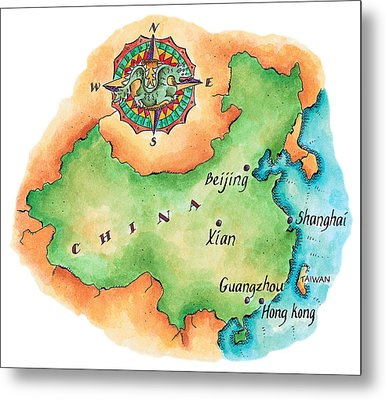 Map Of China Metal Print by Jennifer Thermes