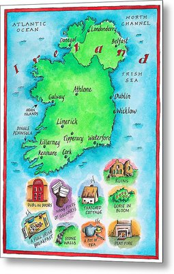 Map Of Ireland Metal Print by Jennifer Thermes