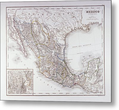 Map Of Mexico And Outlines Of Mexico City Metal Print by Fototeca Storica Nazionale