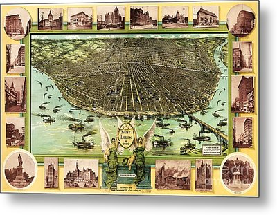 Map Of Saint Louis Metal Print by Pg Reproductions