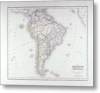 Map Of South America Metal Print by Fototeca Storica Nazionale