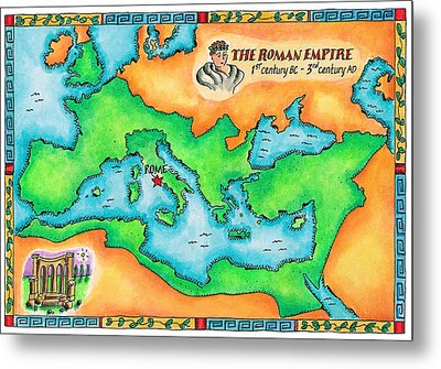 Map Of The Roman Empire Metal Print by Jennifer Thermes