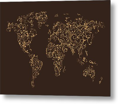 Map Of The World Map Floral Swirls Metal Print by Michael Tompsett