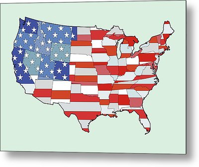 Map Of United States Of America Depicting Stars And Stripes Flag Metal Print by Atomic Imagery