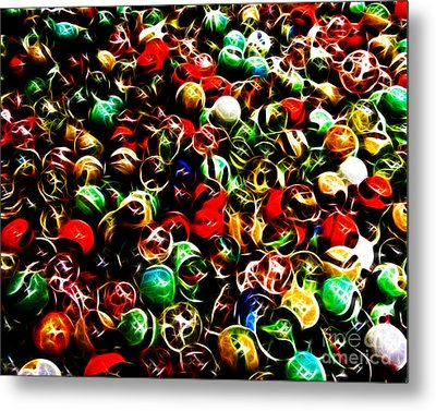 Marbles - Electric Metal Print by Wingsdomain Art and Photography