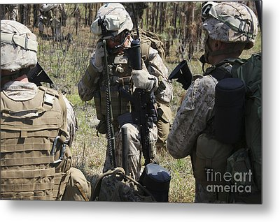 Marines Communicate With Other Elements Metal Print by Stocktrek Images