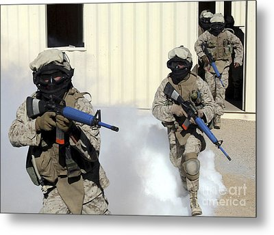 Marines Cross A Danger Area After Using Metal Print by Stocktrek Images