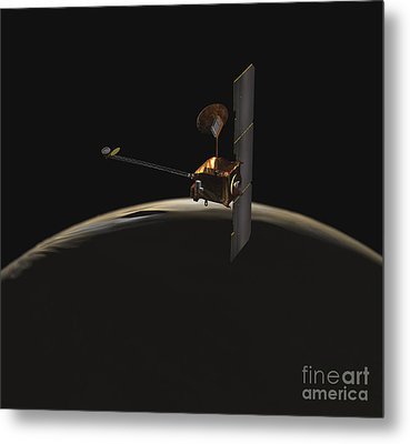 Mars Odyssey Spacecraft Over Martian Metal Print by Stocktrek Images