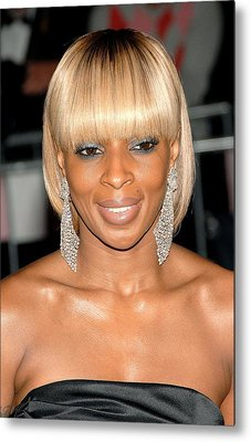 Mary J. Blige At Departures For Annual Metal Print by Everett