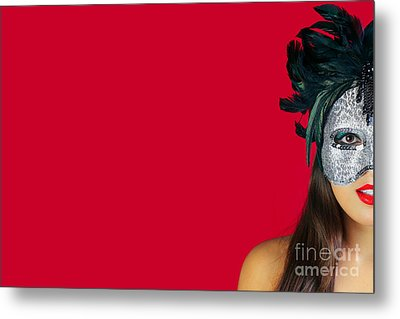 Masquerade Mask Red Background Metal Print by Richard Thomas