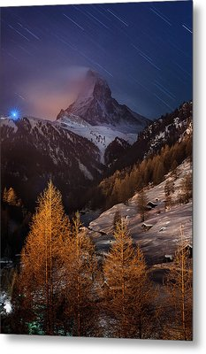 Matterhorn With Star Trail Metal Print by Coolbiere Photograph