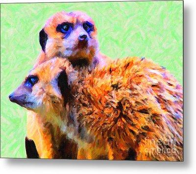 Meerkats . 7d4176 Metal Print by Wingsdomain Art and Photography
