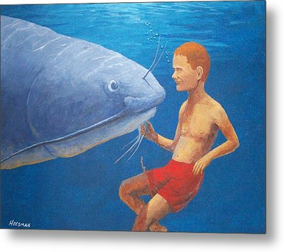 Meeting With The Giant Catfish Metal Print by John Hoesman